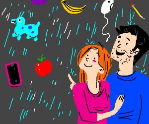 Look honey! its raining random stuff again!