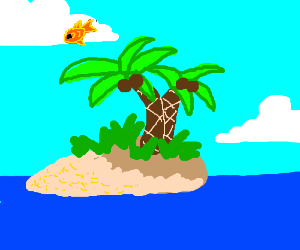 The goldfish jumped over the tropical island