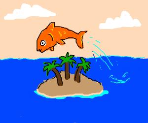 Goldfish jumping over cliche desert island