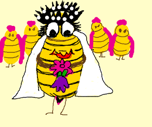 Queen bee in a wedding gown, holding a flower.