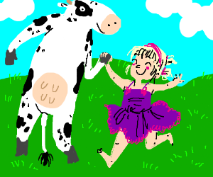 little girl and cow are BFFs