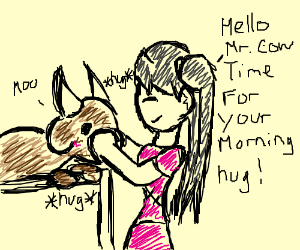 Pigtailed girl in pink skirt hugs her cow.