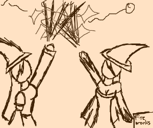 Witches put on fireworks display