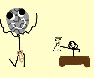 Naked guy moons at an accountant