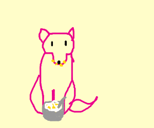 Pink Wolf eating Cornflakes