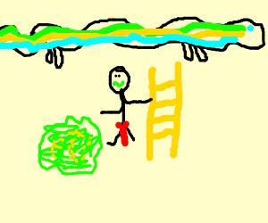 Ladder Man Pukes