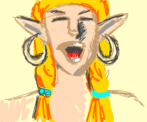 Elf with earrings laughs maniacally