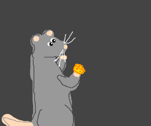 hamlet rat contemplates eating cheese.
