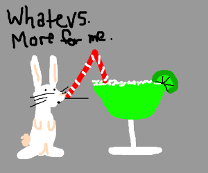 Tiny bunny throws margarita party, nobody came