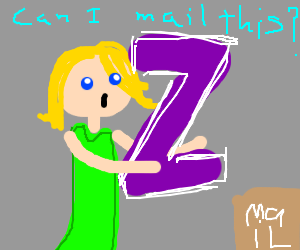 Girl in green dress send a big letter