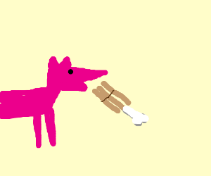 pink fox eating cinnabon
