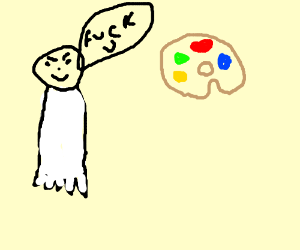 Man is confused by colour pallete.