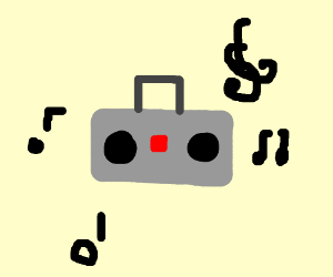 crazy sterio boom box breaking music notes