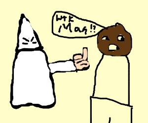 White racist man flips off black guy