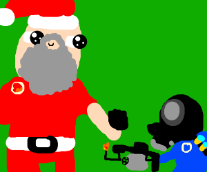 Santa giving coal to a bad pyrotechnic