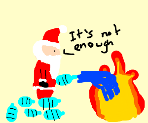 Santa putting out fire with mineral water