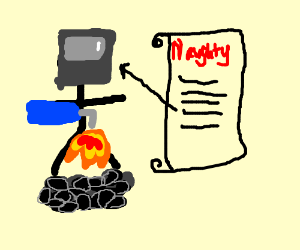 man in soldering hat blowtorches pile of coal