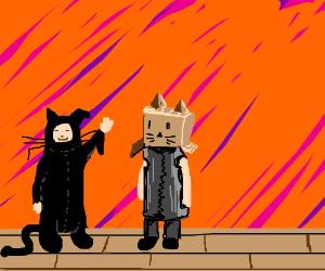 kids in bad cat costumes