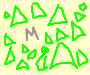 the letter M in grey with green triangles