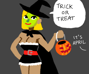 Halloween witch costume inappropriate 4 April.