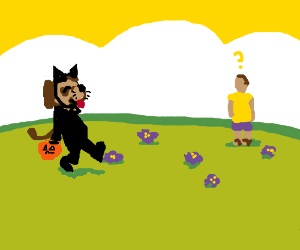 Dog goes trick or treating in April