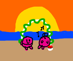 Jigglypuff and Kirby get married at sunset.