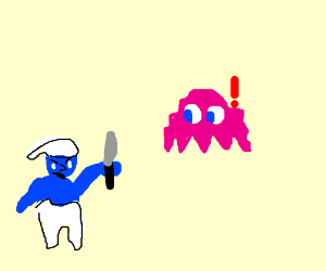 Smurf about to attack Pac-Man ghost