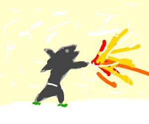 Fire shark battles through a snowstorm.