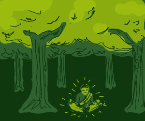 man is meditating in a forest