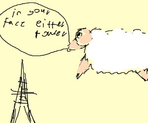 Floating sheep is .3x size of Eiffel Tower