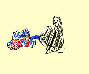 Deformed Captain America pulls Death's cape