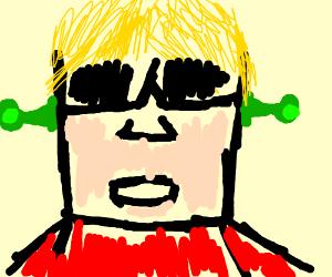 Ken from Street Fighter, broccoli in his ears