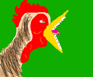 rooster with human teeth crowing