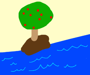 Deserted island with a nice apple tree.