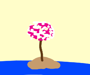 Cherry tree on deserted island.