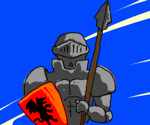 Armored Knight with Spear and Shield