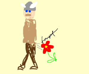 Viking farts out a flower.