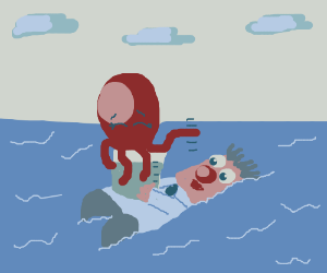 Octopus in water filled beaker floating in sea