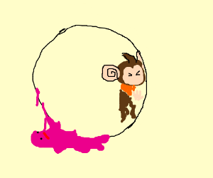 supermonkeyball monkey slimed by a ditto