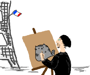 French artists paints cat