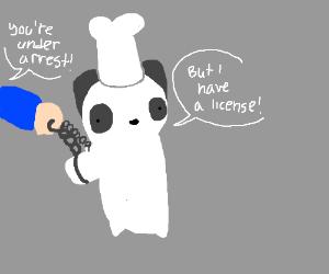 Adorable Panda Chef arrested despite license