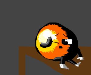 Light shining on an orange