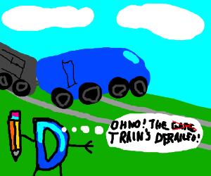 Drawception watches train go off the rails