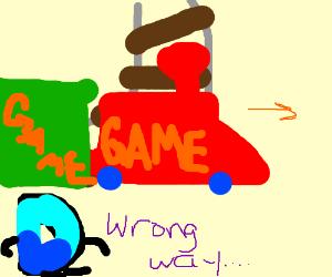 Drawception D watches the game-train derail.