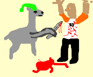 Carl the Llama stabs a man 37X in the chest