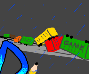 Drawception D witnesses the game train derail.