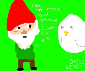 Santa's little helper is in love with an owl