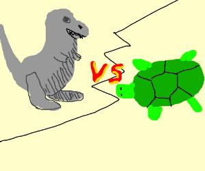Grey Dinosaur Fighting a Green Turtle