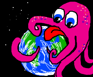Octupus with long tongue eats the world
