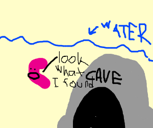 Jellybean explores underwater cave
